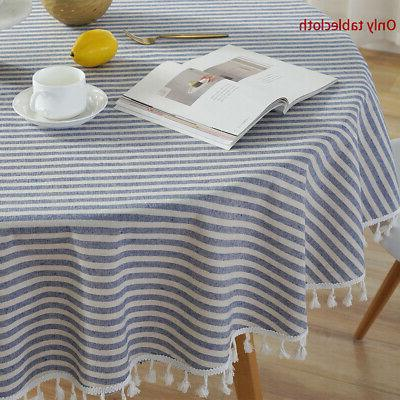 Cotton Linen Tablecloth Striped Round Table Cloth