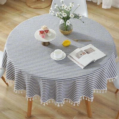 cotton linen tablecloth striped round tassel kitchen