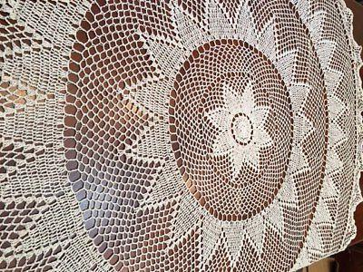 Round Handmade Crochet Lace Tablecloth BEIGE %