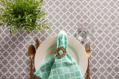 DII Tablecloth for Picnics, Summer Parties Use Round, Gray and White