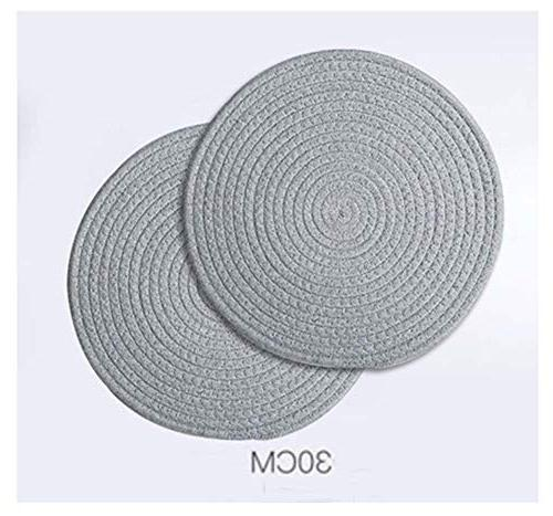 2 Round Placemats Japanese-Style Table Pad Cloth Placemat, Gray