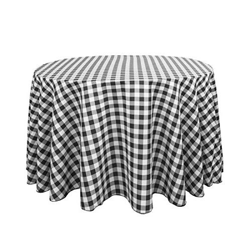 round polyester tablecloth black white