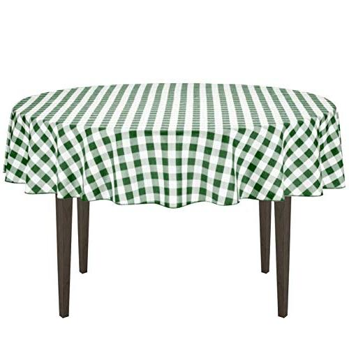 round polyester tablecloth green white