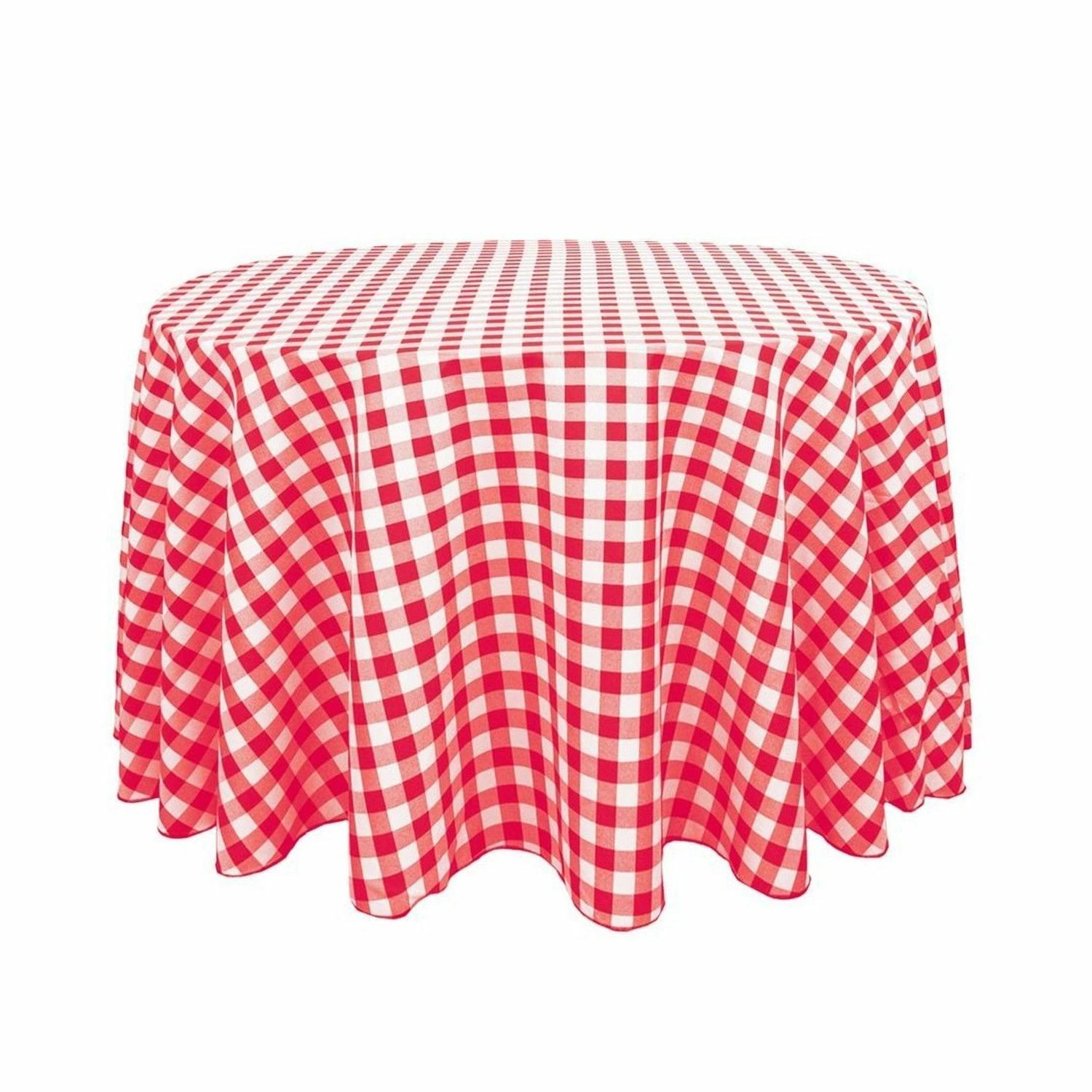 round polyester tablecloth red white