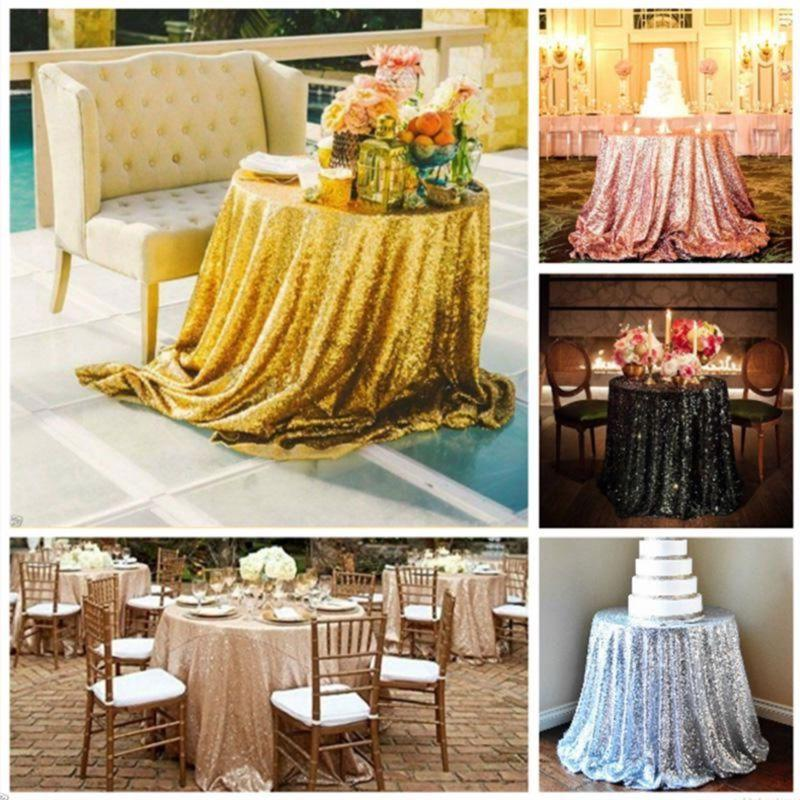 Round Sequin Rose Table Cover Event Decor