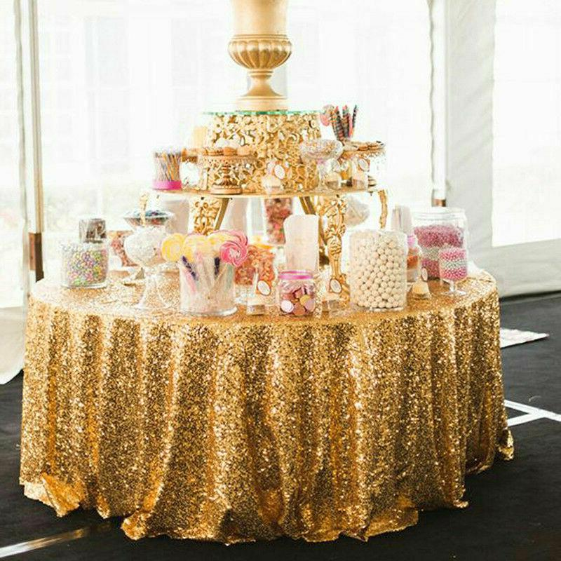 Round Sequin Table Cloth Event Banquet Party Decor