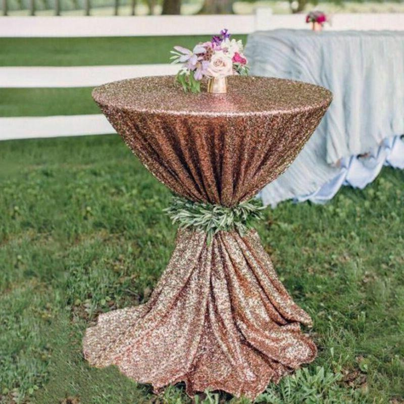 Round Sequin Tablecloths Rose Gold Cover