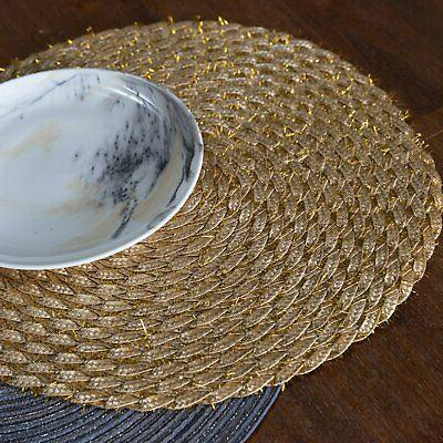 DII Round Woven Tinsel Placemat Set 6