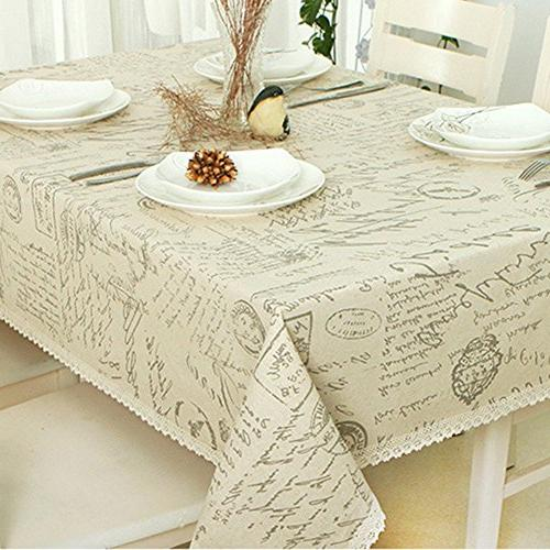 shabby chic cotton linen tablecloth