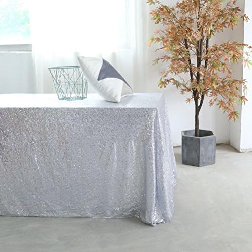GFCC Silver 90x132'' Tablecloth Cloth Banquet Wedding Party Christmas