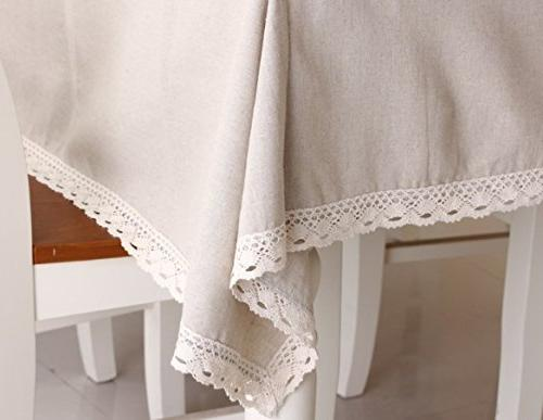 Enova Home Natural Rectangle Cotton Linen Washable Lace Cloth Cover Printed for Tabletop