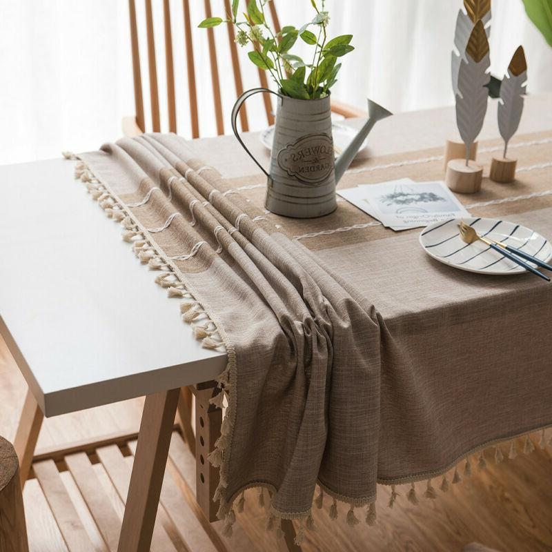 Splicing Cotton And Linen Small Fresh Tablecloth Rectangular