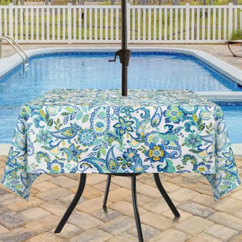 Eforcurtain Square 60Inch Umbrella Outdoor Tablecloth with Z