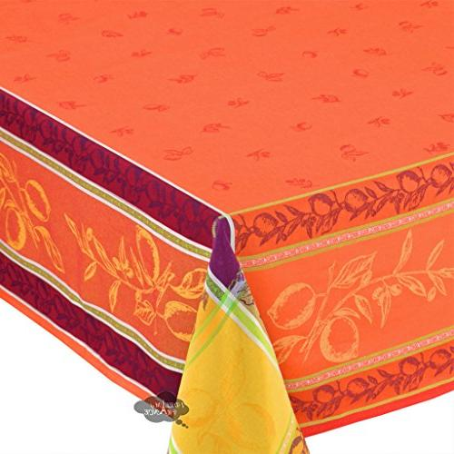 """62"""" Lemon Rust French Tablecloth by Le"""