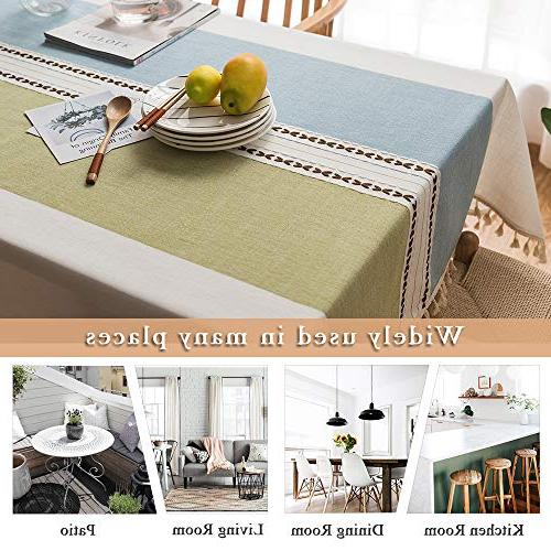 ColorBird Stitching Tablecloth Heavy Dust-Proof Table Cover Kitchen Dinning