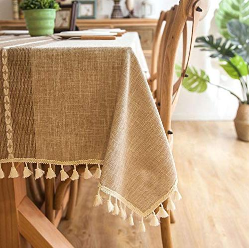 Jiuhong Tassel Heavy Weight Cotton Fabric Table Cover for Decoration