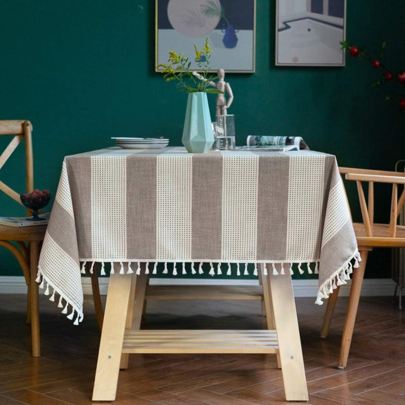 Colorbird Striped Tassel Tablecloth Embroidery Pattern Heav