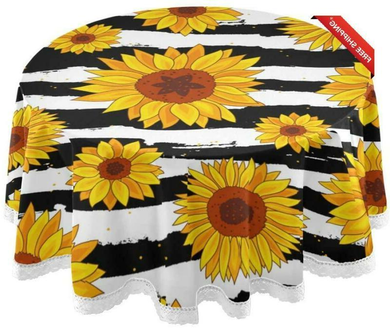 Alaza Sunflower Round Tablecloth Polyester Lace Table Covers