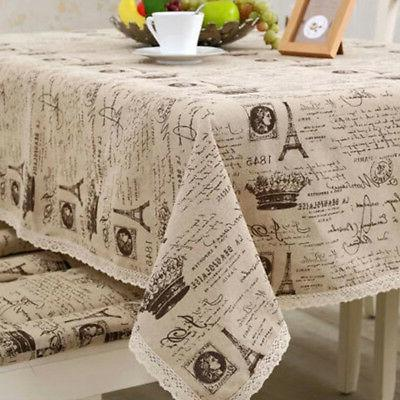 Table Cloth Cover Tower Printed Cotton Linen Dining Lace Tab