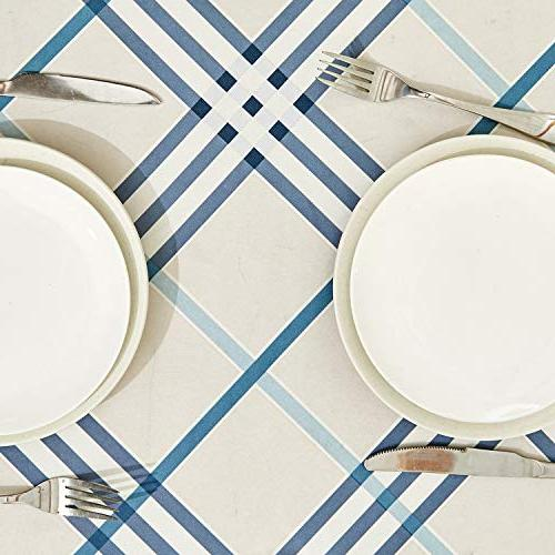 TUBEROSE Oil-Proof Spill-Proof Water Resistance Checkered Tablecloth Cream for Dinning,