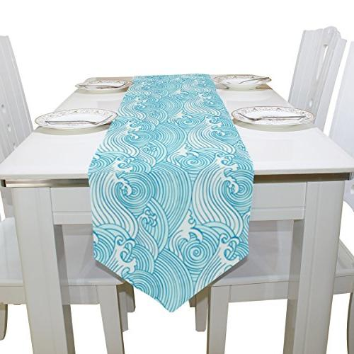 ALAZA Table Decor, Waves Table Runner Coffee Mat Party 13 x 70 inches