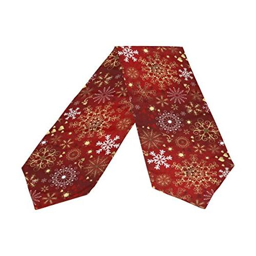 ALAZA Table Home Decor, Gold Snowflakes Table Coffee Mat Party 13 x 70
