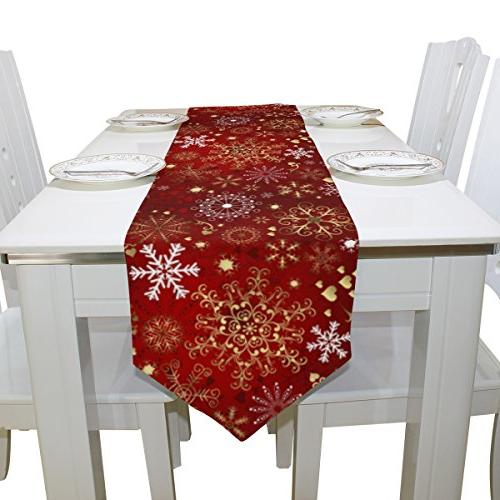 ALAZA Decor, Gold Snowflakes Table Cloth Runner Coffee Party Decoration