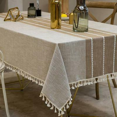 TEWENE Tablecloth, Rectangle Table Cloth Cotton Linen Wrinkl