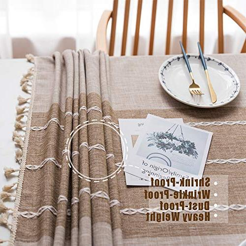 TEWENE Tablecloth, Cloth Cotton Linen Free Washable Decoration