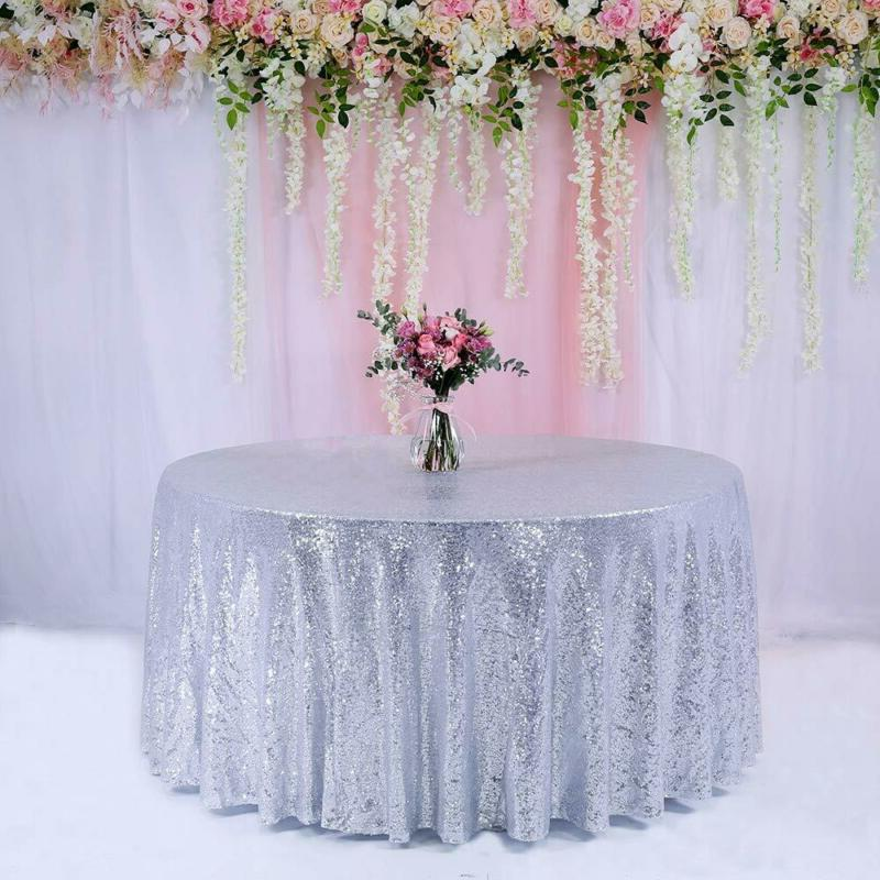 trlyc 132 inch round wedding sequin tablecloth