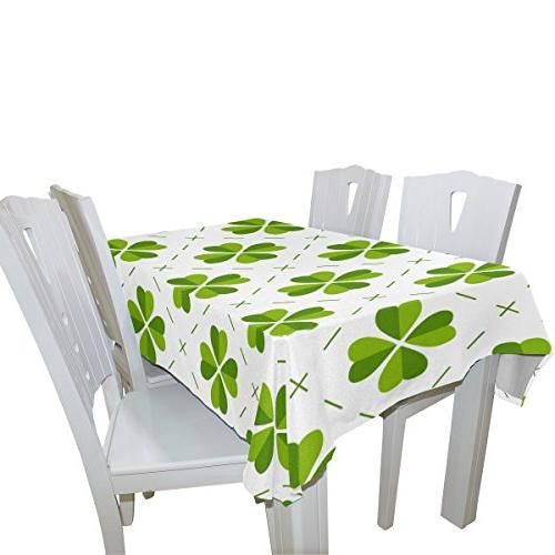 ALAZA U St Shamrock Green Tablecloths Cloth Covers Protectors for Rectangle Square Round Tables Living Room