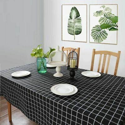 Cotton Linen Tablecloth Checked Kitchen Table Cover Home Decor