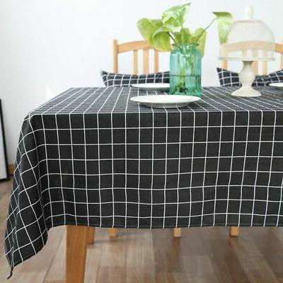 cotton linen plaid tablecloth checked kitchen table