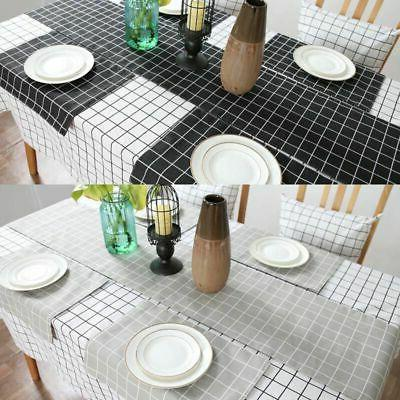 Cotton Plaid Checked Cover Home Table Decor