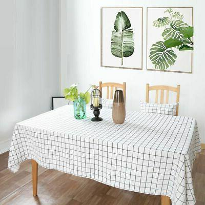 Cotton Linen Tablecloth Plaids Kitchen Cover Multi