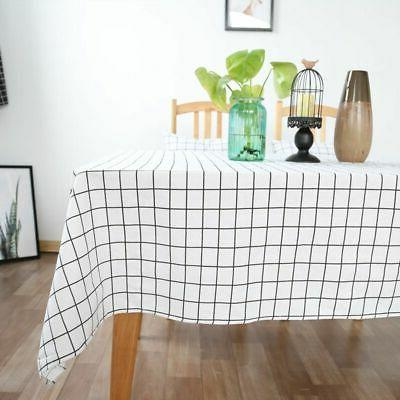 Cotton Linen Tablecloth Plaids Cover Multi Sizes