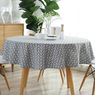 US Round Linen Dining Table Cloth Home Kitchen Holiday Garde