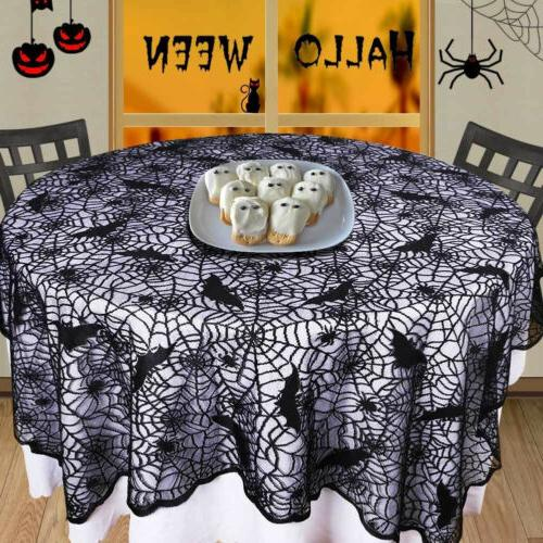 USA Halloween Spider Web Tablecloth Round Table Topper Cloth