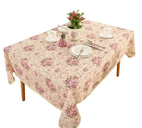 Vintage Linen Tablecloth - Pattern Washable Table cloth Dinner Kitchen Home & Sizes