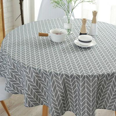 Table Cloth Printed Linen Round Tablecloth for