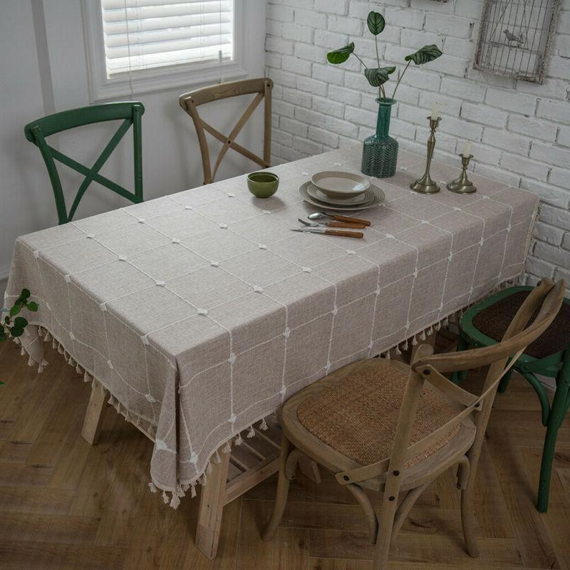 Washable Square Embroidered Cotton Tassels Dining Room Table