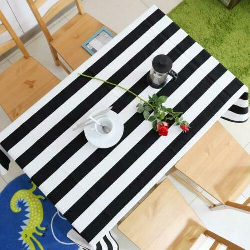 Black White Stripe Table Cloth Home Dining Table Washable Du