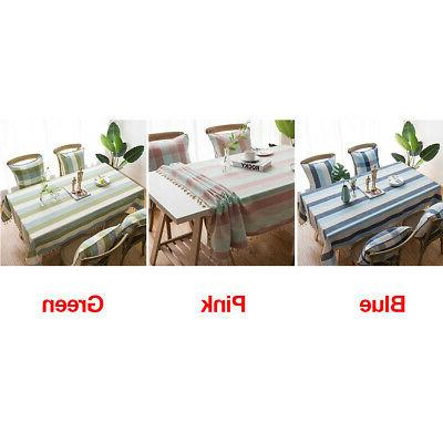 Waterproof Dinning Simple Cloth Cover Stripe Kitchen