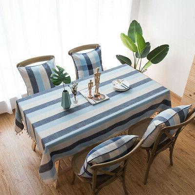 Waterproof Simple Table Cover Stripe Kitchen