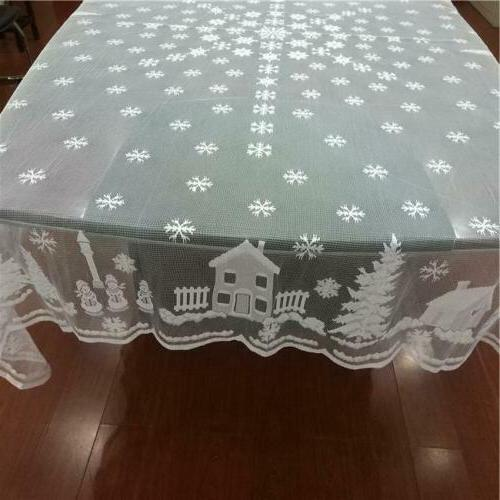 White Christmas Table Cover Home Party -Y