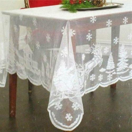 white christmas table cloth cover vintage lace