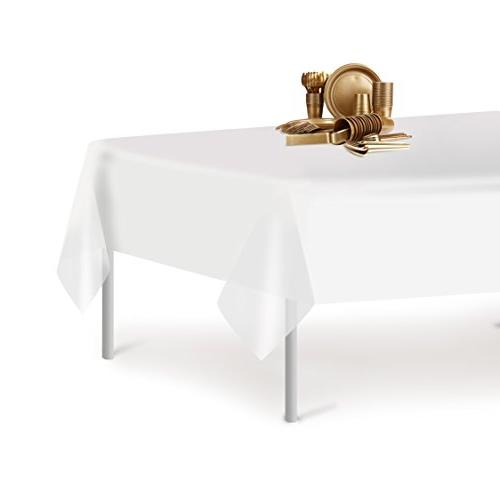 White Disposable Plastic Tablecloth Inch. x 108 Rectangle Table Grandipity