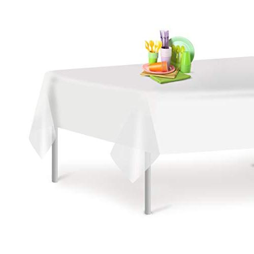 white disposable plastic tablecloth rectangle