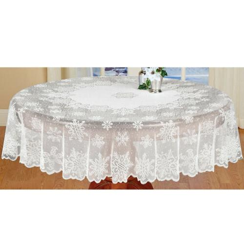 White Tablecloth Cloth Covers Snowflake DIY Dining Decor