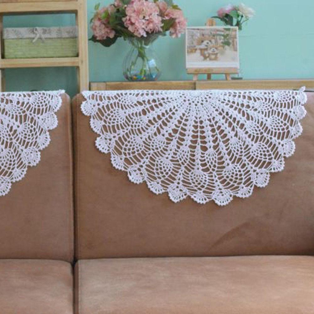 White Round Tablecloth Vintage Crochet Cloth